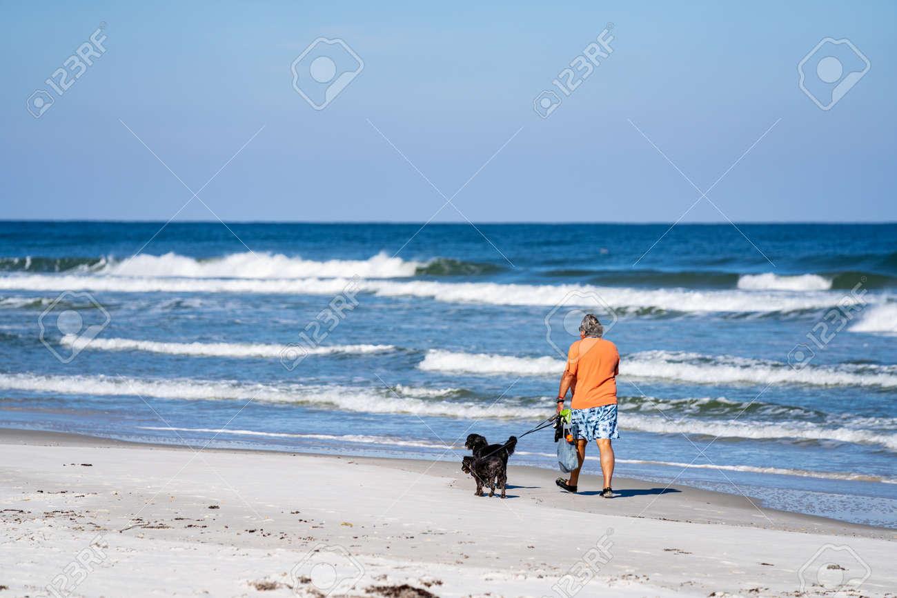 Crescent Beach, FL, USA - December 12, 2020: Man walking his gods on Crescent Beach FL USA - 164841604