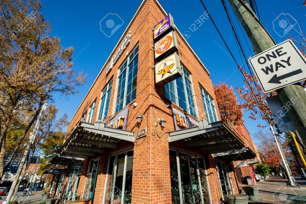 Atlanta, GA, USA - December 12, 2020: Photo of The Flying Biscuit Restaurant historic brick building Downtown Atlanta - 161602412