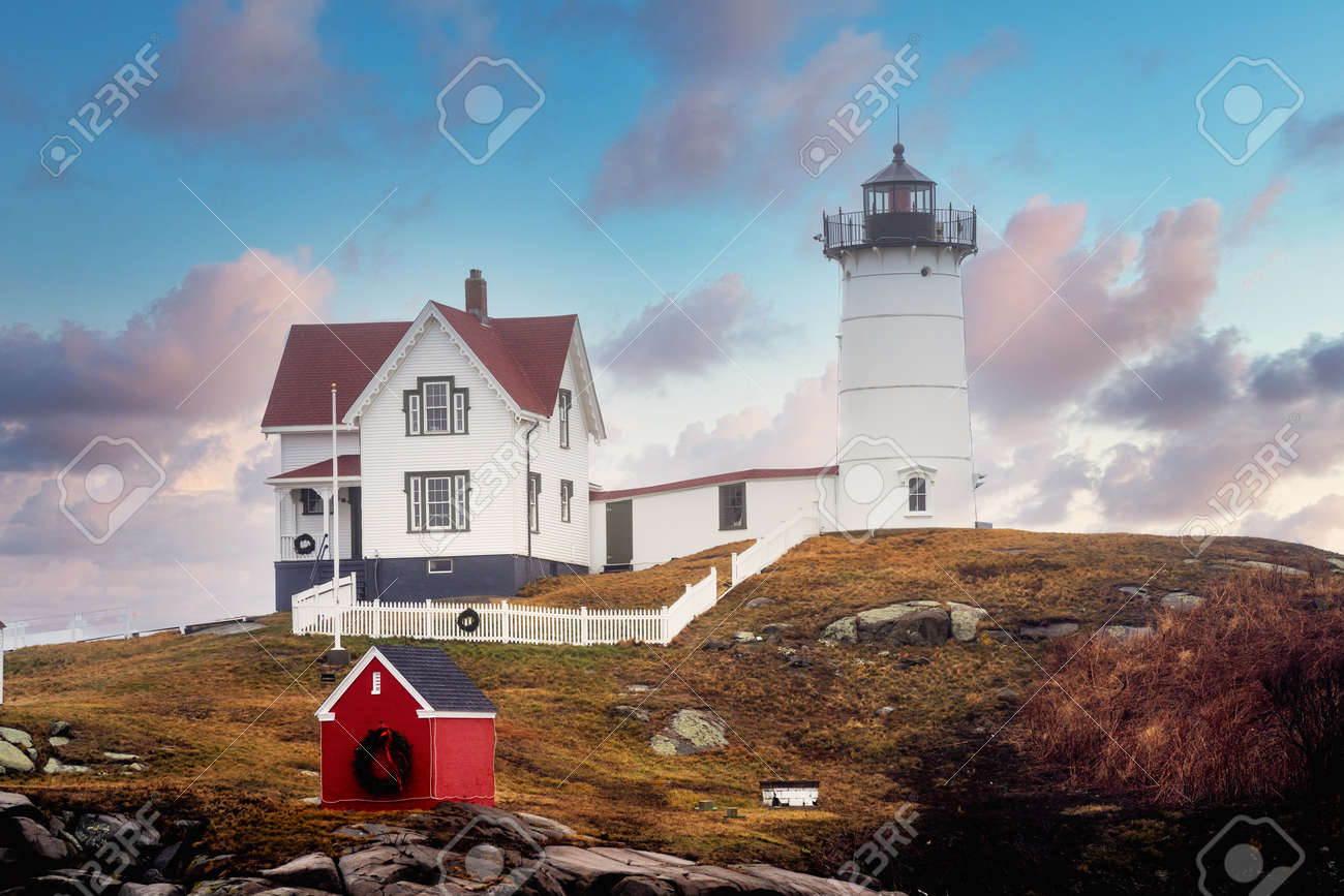 Nubble Lighthouse famous to Maine USA - 161257979