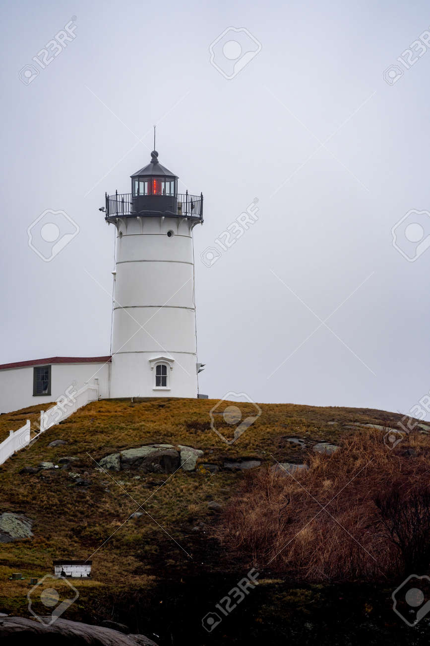 Nubble Lighthouse famous to Maine USA - 161407901