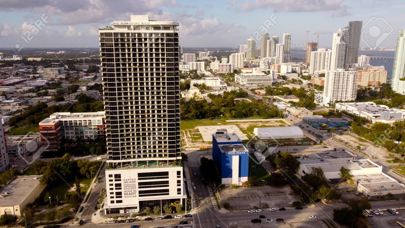 Miami, FL, USA - January 3, 2021: Aerial photo Canvas Condominiums Downtown Miami FL - 161760952