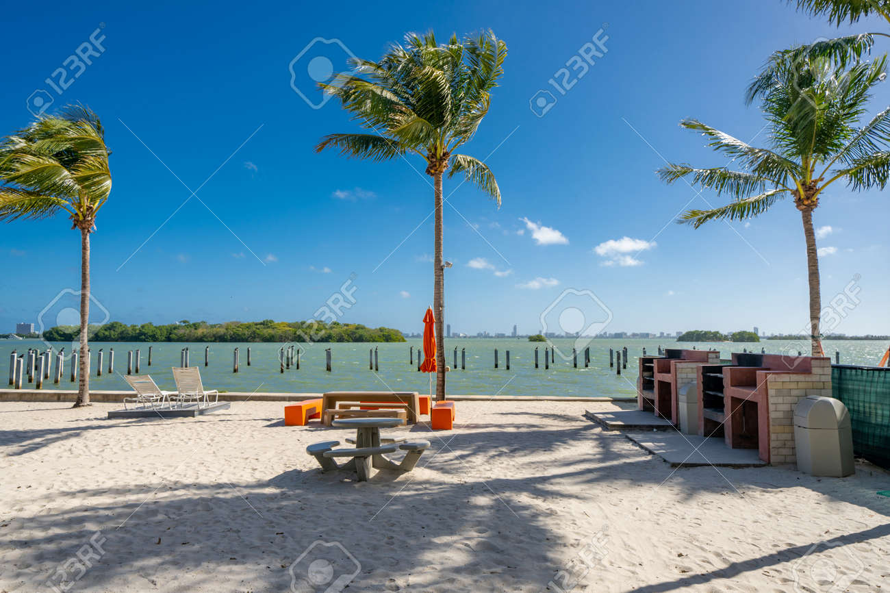 Photo of a barbeque area on a Miami Beach scene with view of the bay - 161711192