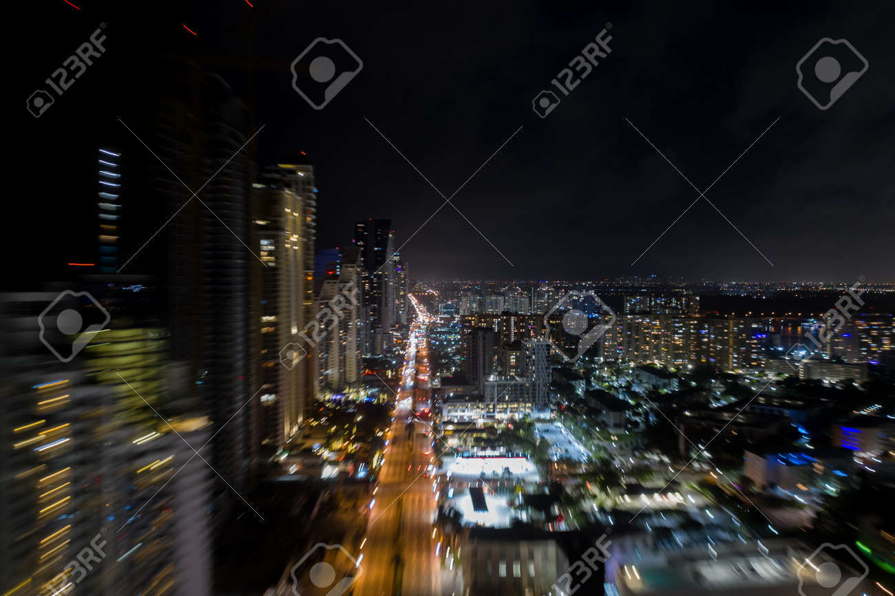 Fast flying aerial motion long exposure motion blur photo - 161711317