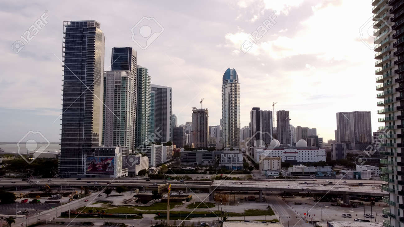 Miami, FL, USA - January 2, 2021: Highrise buildings Downtown Miami FL USA - 161760949