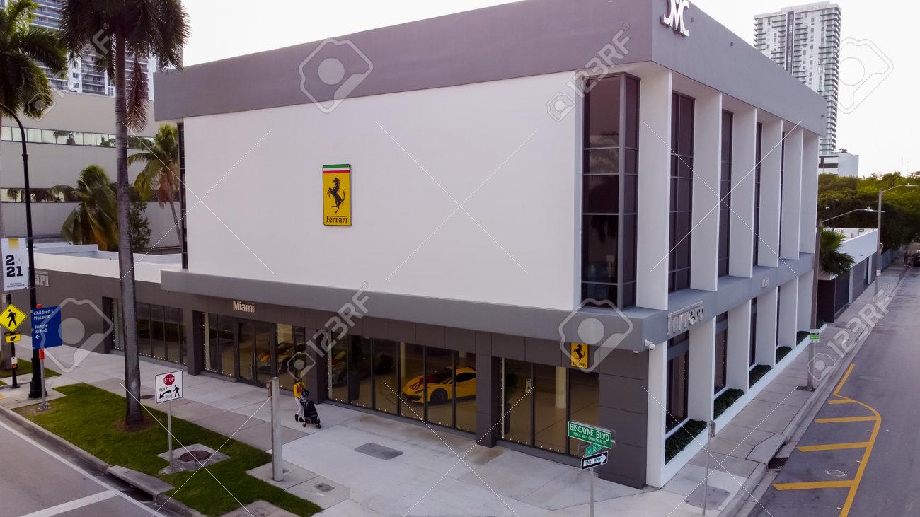 Miami, FL, USA - January 3, 2021: Aerial photo Ferrari of Miami luxury car dealership - 161760950