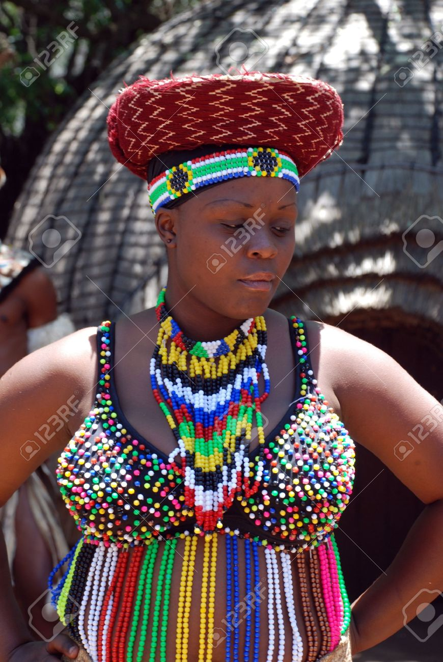 Lesedi Cultural village , South Africa - January 1, 2008: Portrait of african woman wearing traditional handmade accessories, review of daily life of local people. Lesedi African Lodge and Cultural village was established in 1993.  Stock Photo - 10650124
