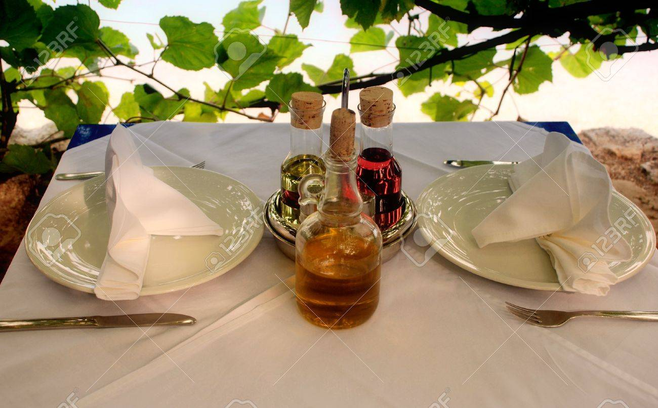 Italian Table Setting Outdoor Italian Restaurant Table With Served Settings Stock Photo