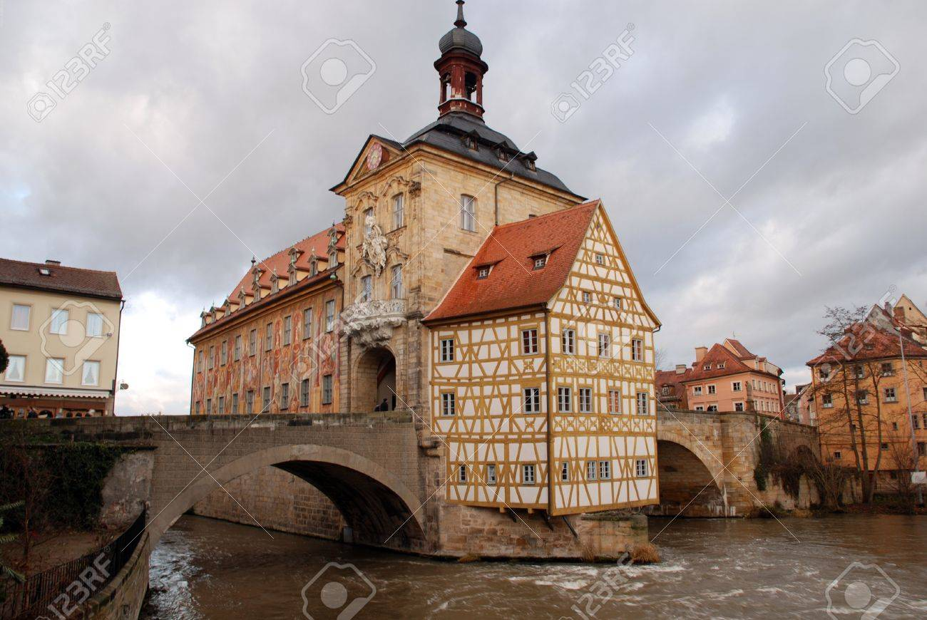 Stock Photo - The Old Town Hall (1386) of Bamberg(Germany) was built in the  middle of the Regnitz river, accessible by two bridges .