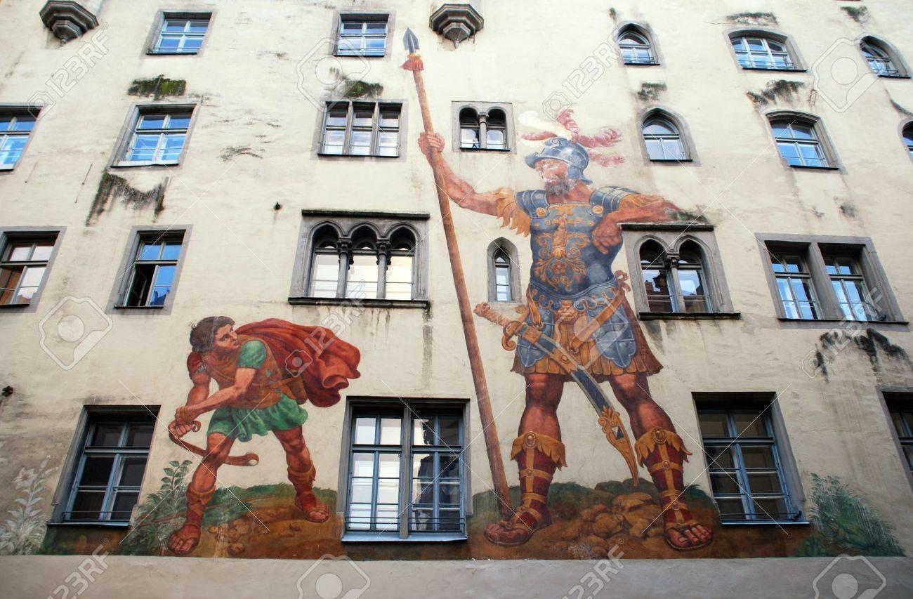 david and goliath fresco on medieval house wall regensburg