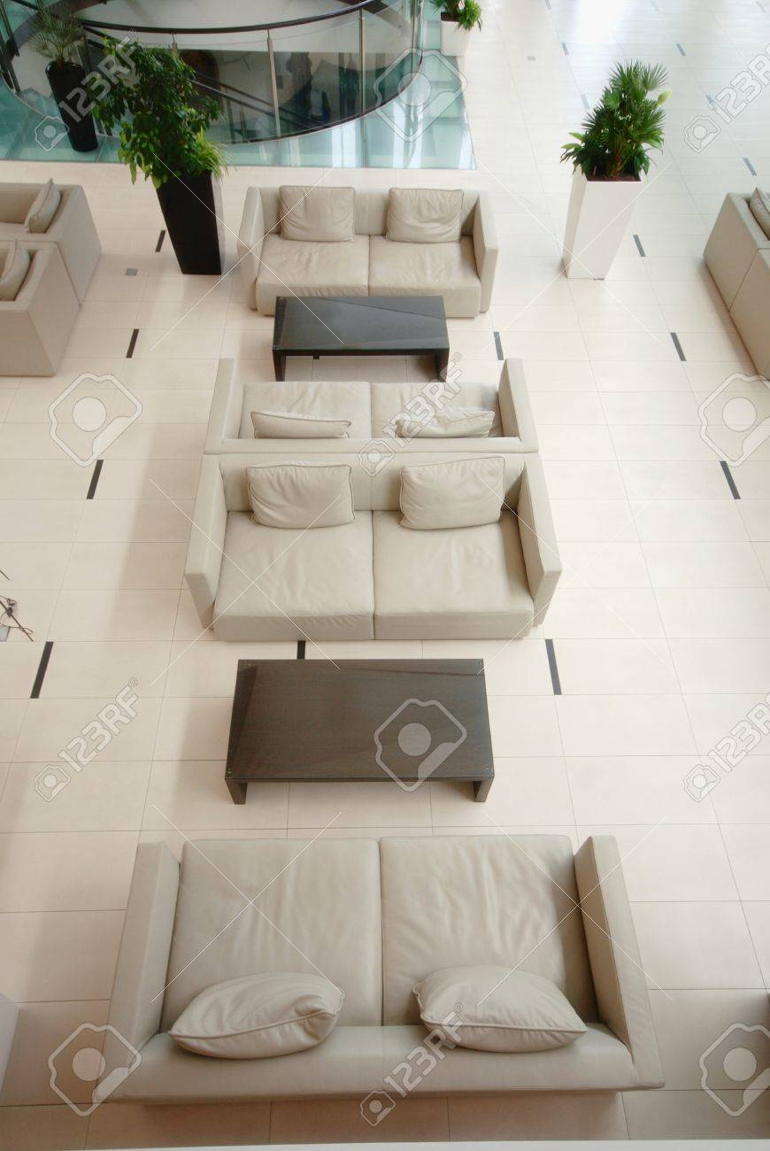 Contemporary Lobby Area From Above With Modern Furniture Beige