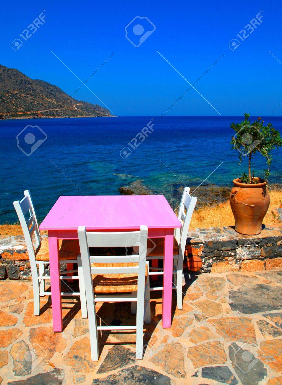 Outdoor Restaurant Traditional Greek Tavern With Pink Table Stock Photo Picture And Royalty Free Image Image 17691730