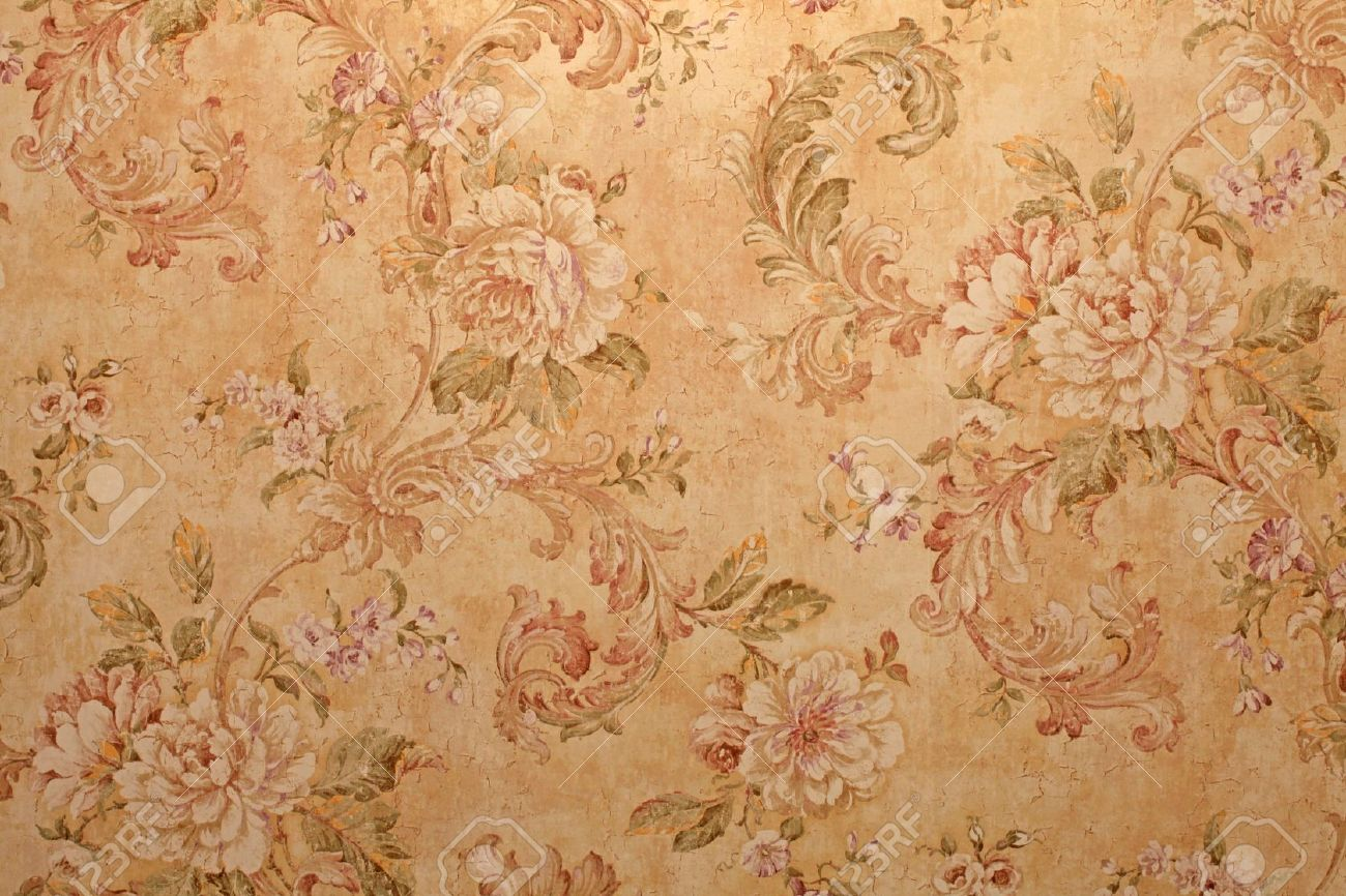 Victorian Wall Paper vintage golden run-down victorian wallpaper with baroque floral