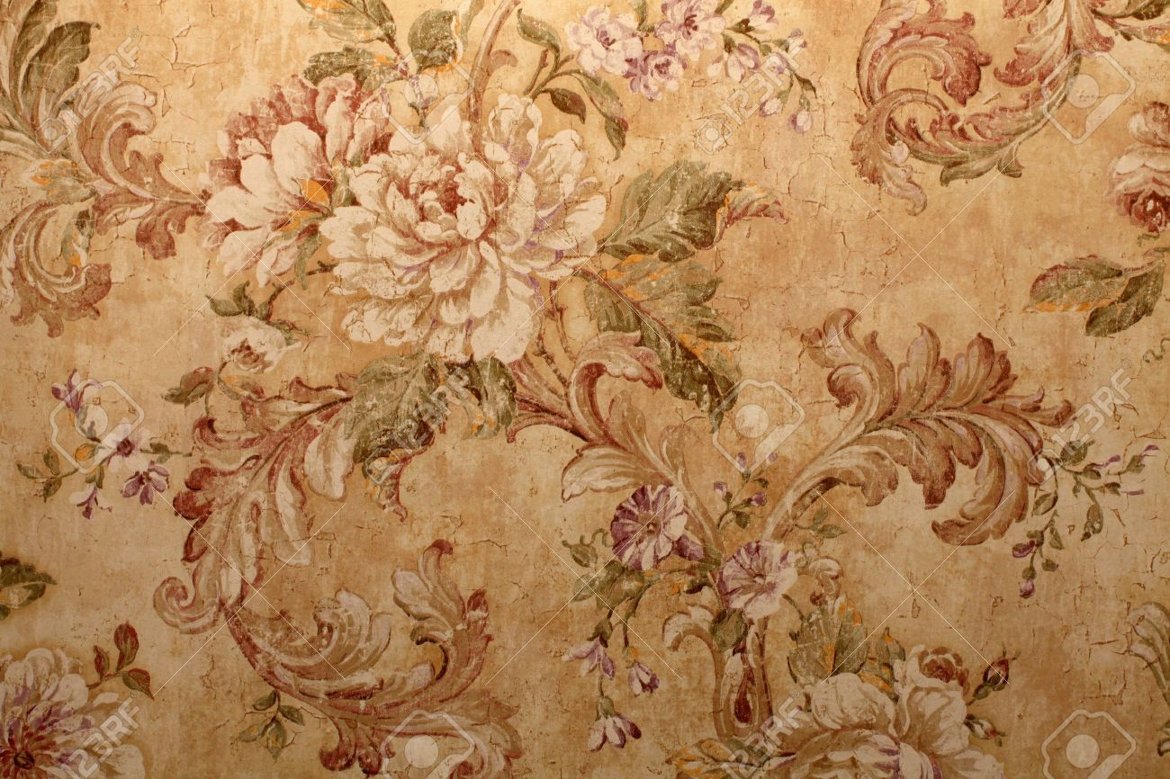 Vintage Golden Run Down Victorian Wallpaper With Baroque Floral