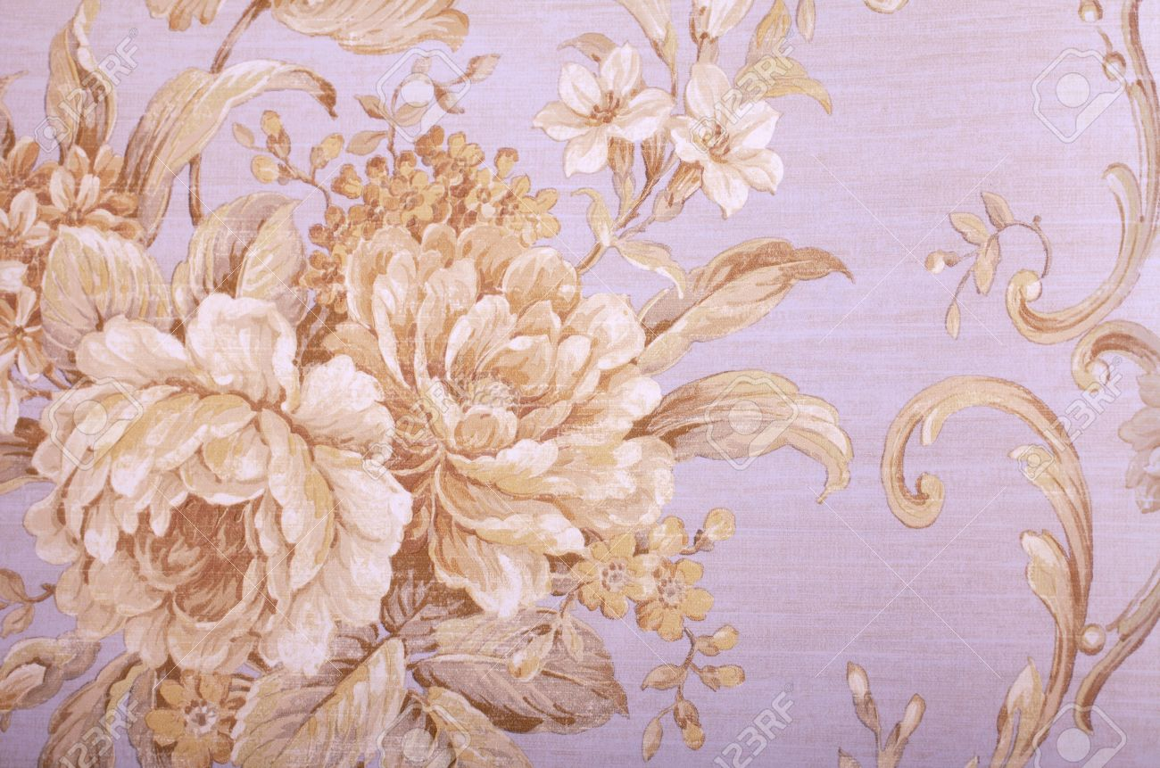 Vintage Grey Wallpaper With Beige Floral Victorian Pattern Stock