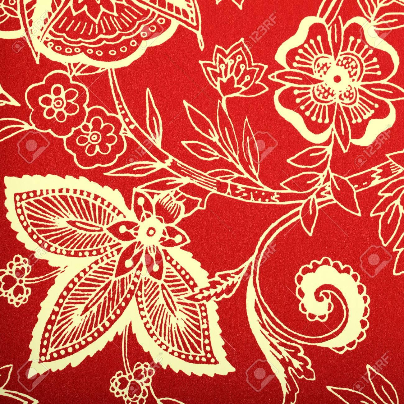 Rouge Papier Peint Vintage Avec Vignette Blanc Motif Victorien