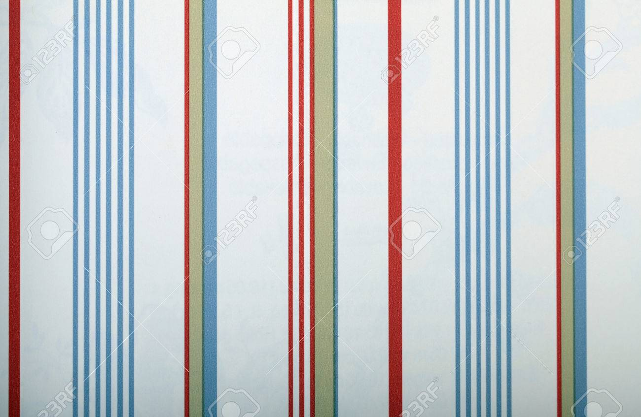 Vintage White Striped Wallpaper With Red And Blue Strips