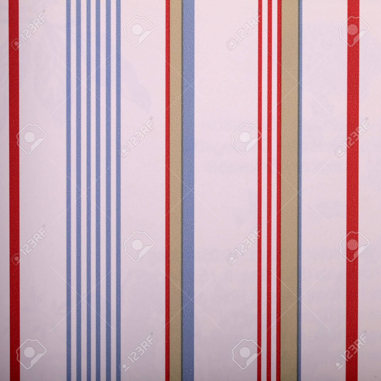 Vintage White Striped Wallpaper With Red And Blue Strips Square