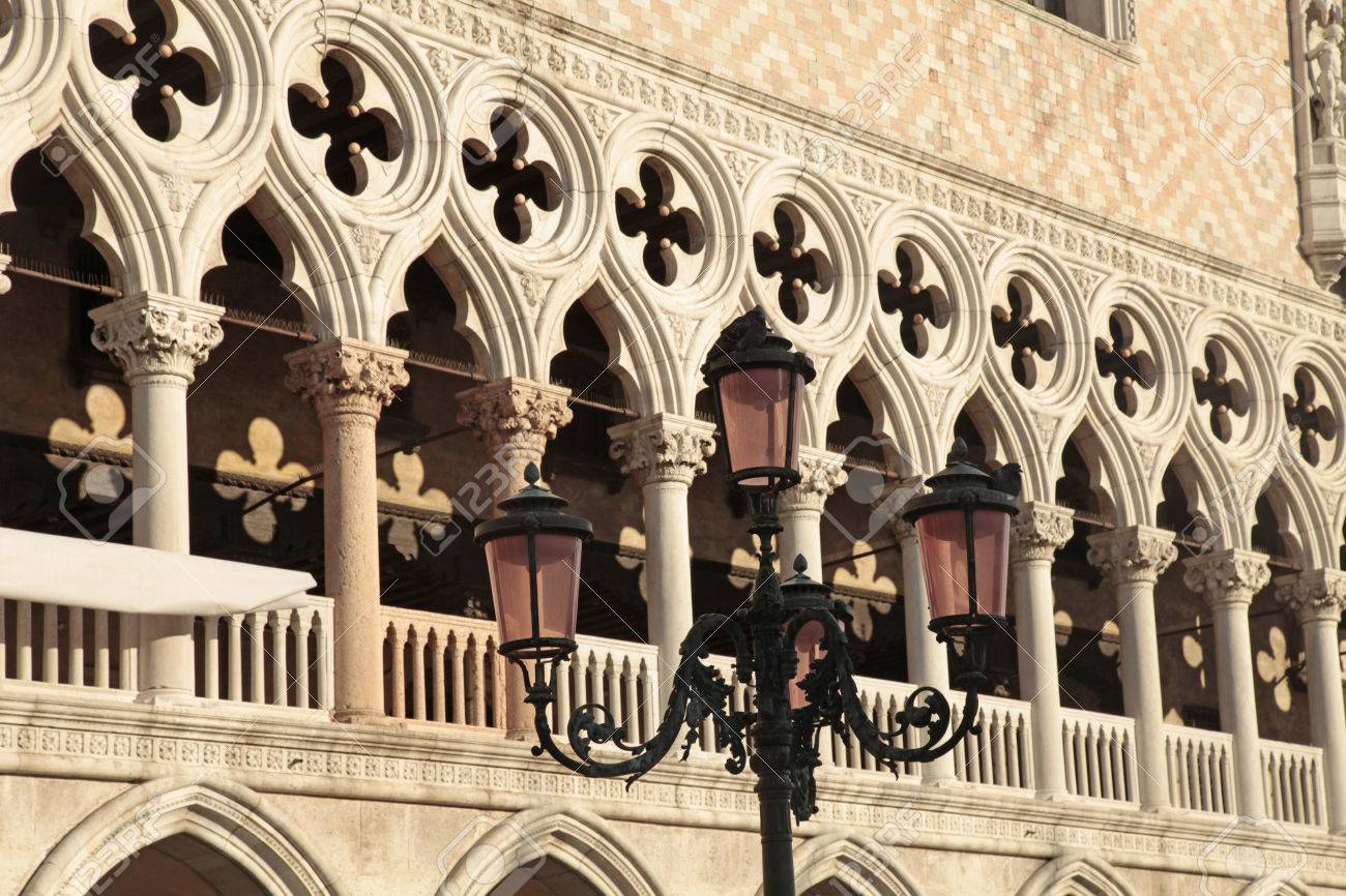 Venetian gothic architecture on The Doge's Palace (Italian Palazzo Ducale)  balustrade, Venice,