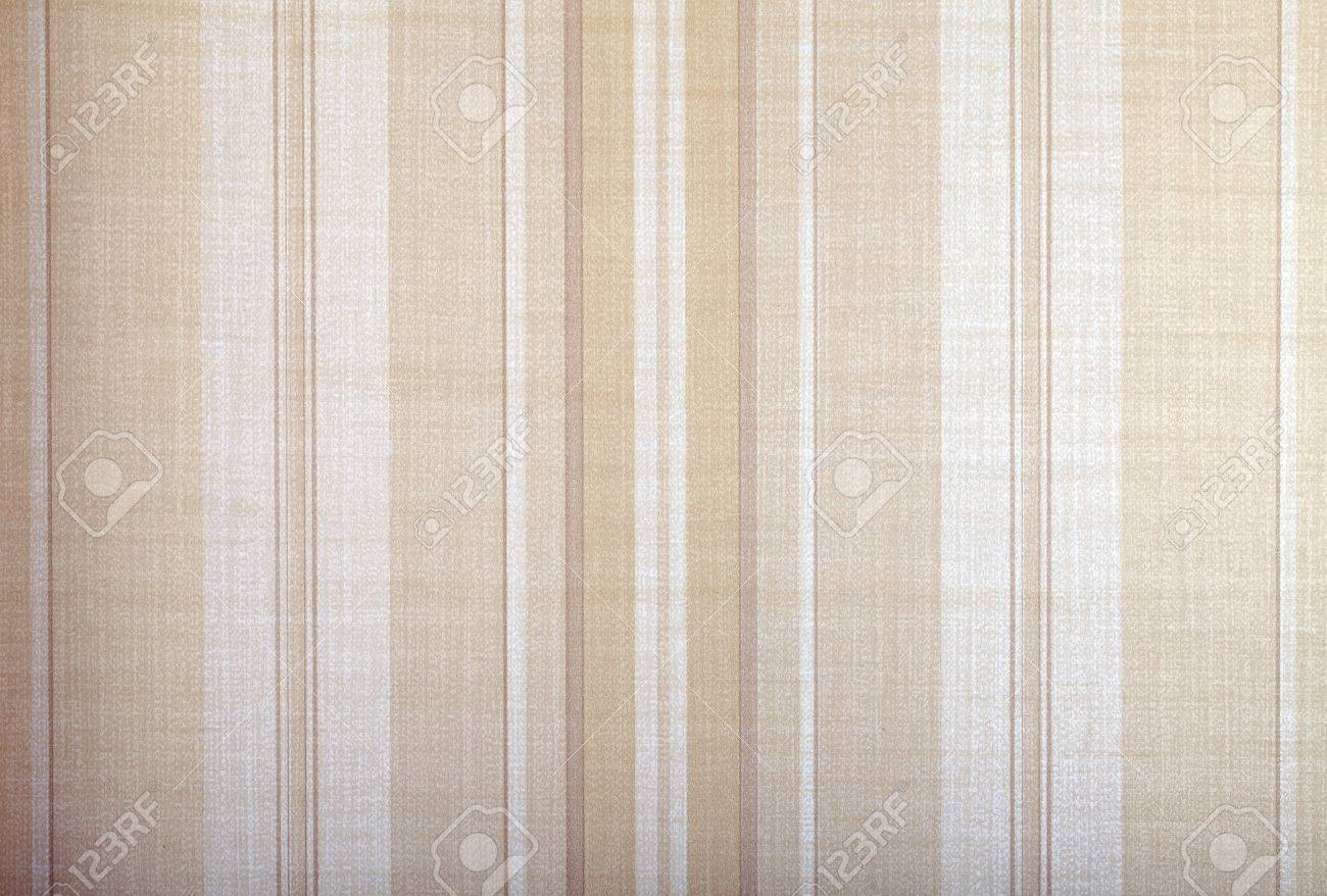 Vintage Wallpaper Background With Beige Stripes Pattern Stock Photo