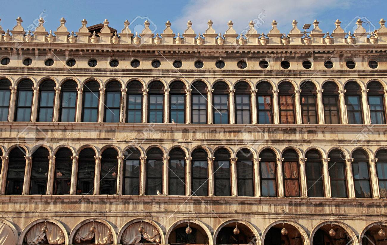 Medieval Gallery Facade With Arch Windows On Piazza San Marco ...