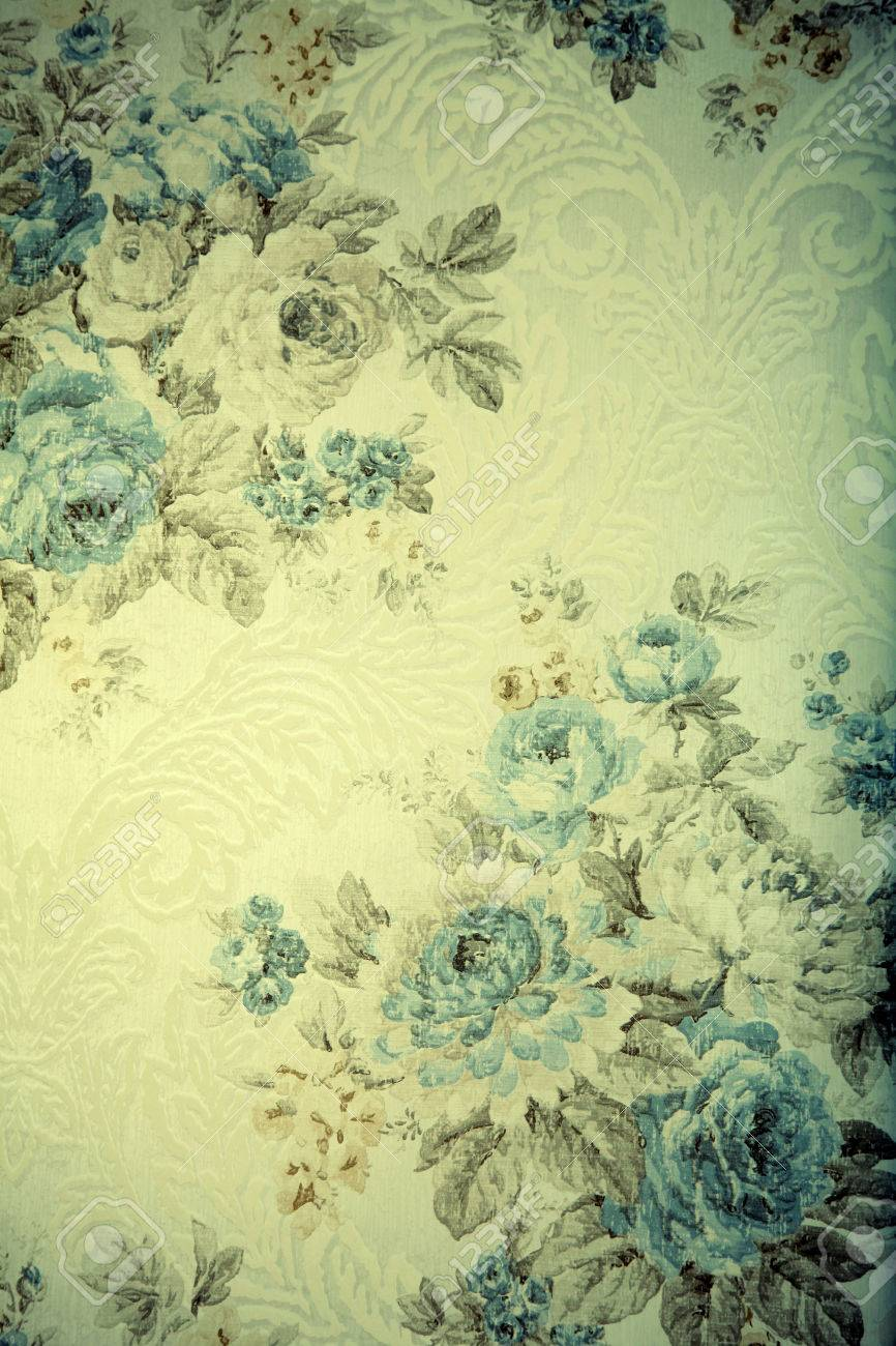 Vintage Wallpaper With Blue Floral Victorian Pattern Toned Image