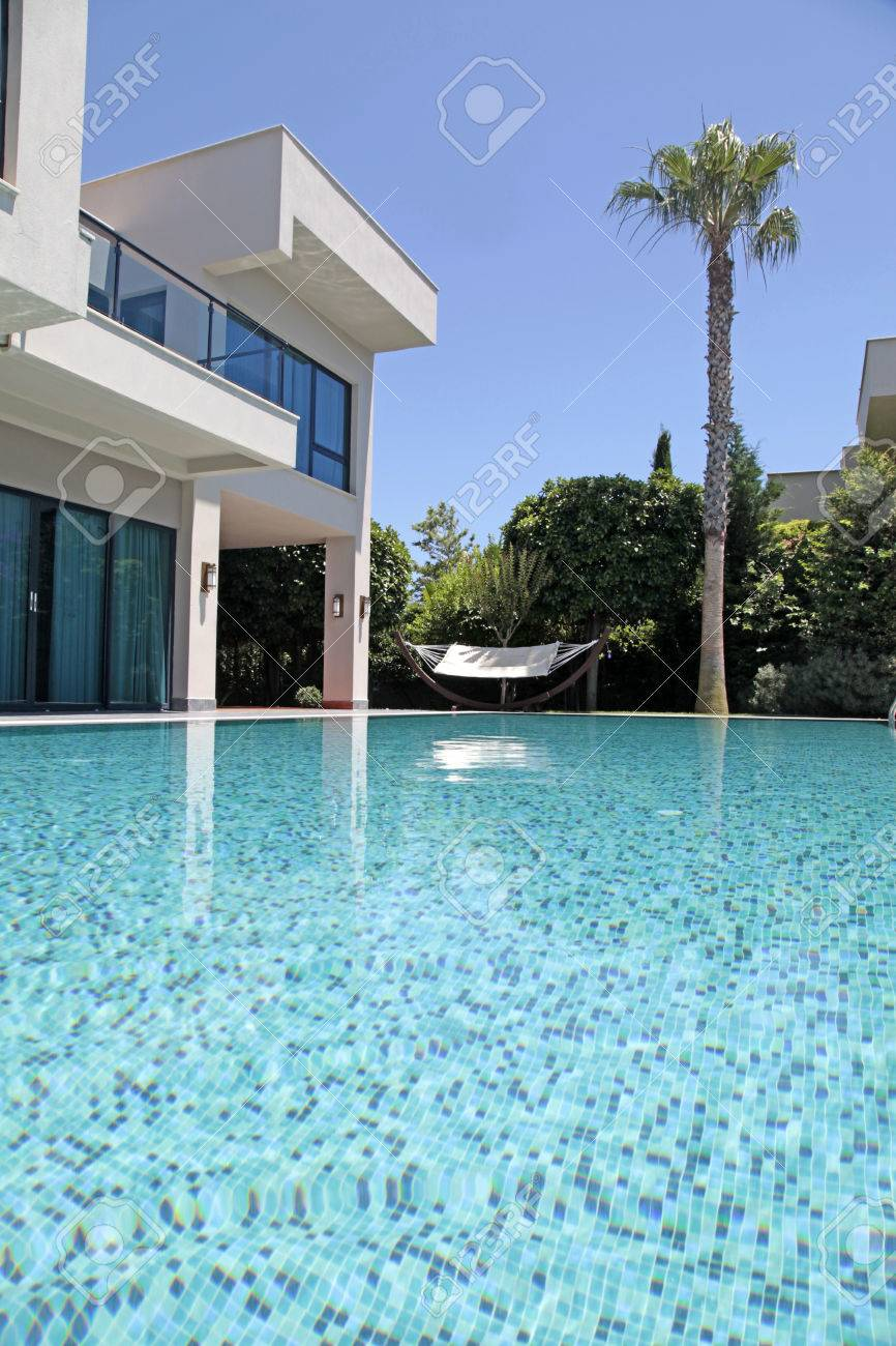 Stock Photo   Swimming Pool At The Modern Luxury Villa, Turkey, Vertical  Image