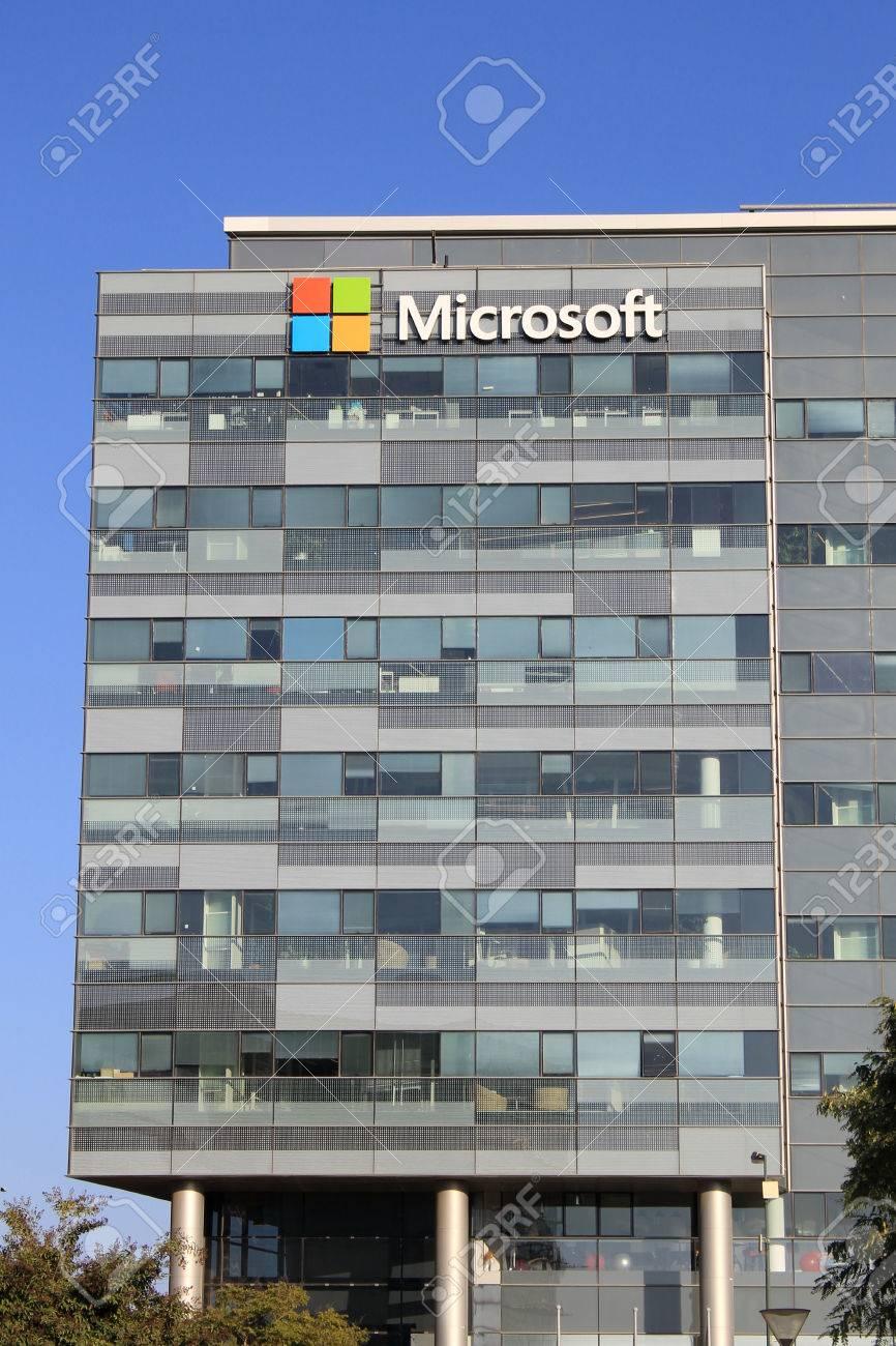 microsoft office building. HERZLIYA, ISRAEL - AUGUST 31, 2015: Microsoft Corporation Office Building Facade With Logo