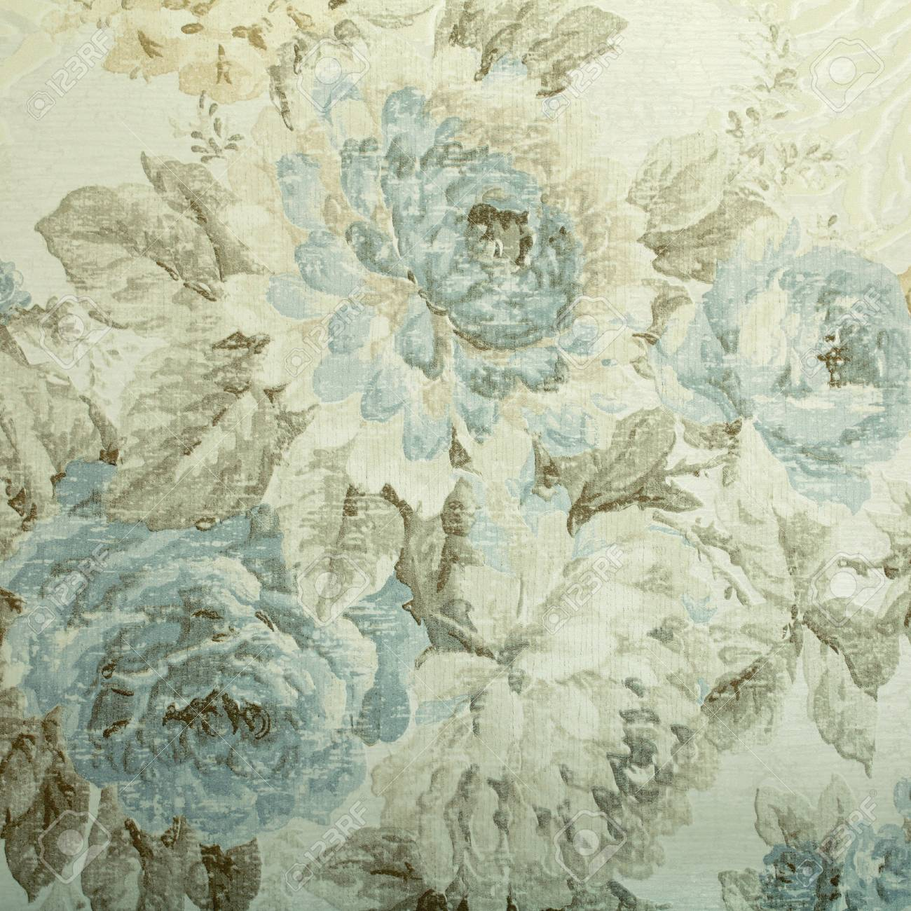 Vintage Wallpaper With Blue Floral Victorian Pattern Square