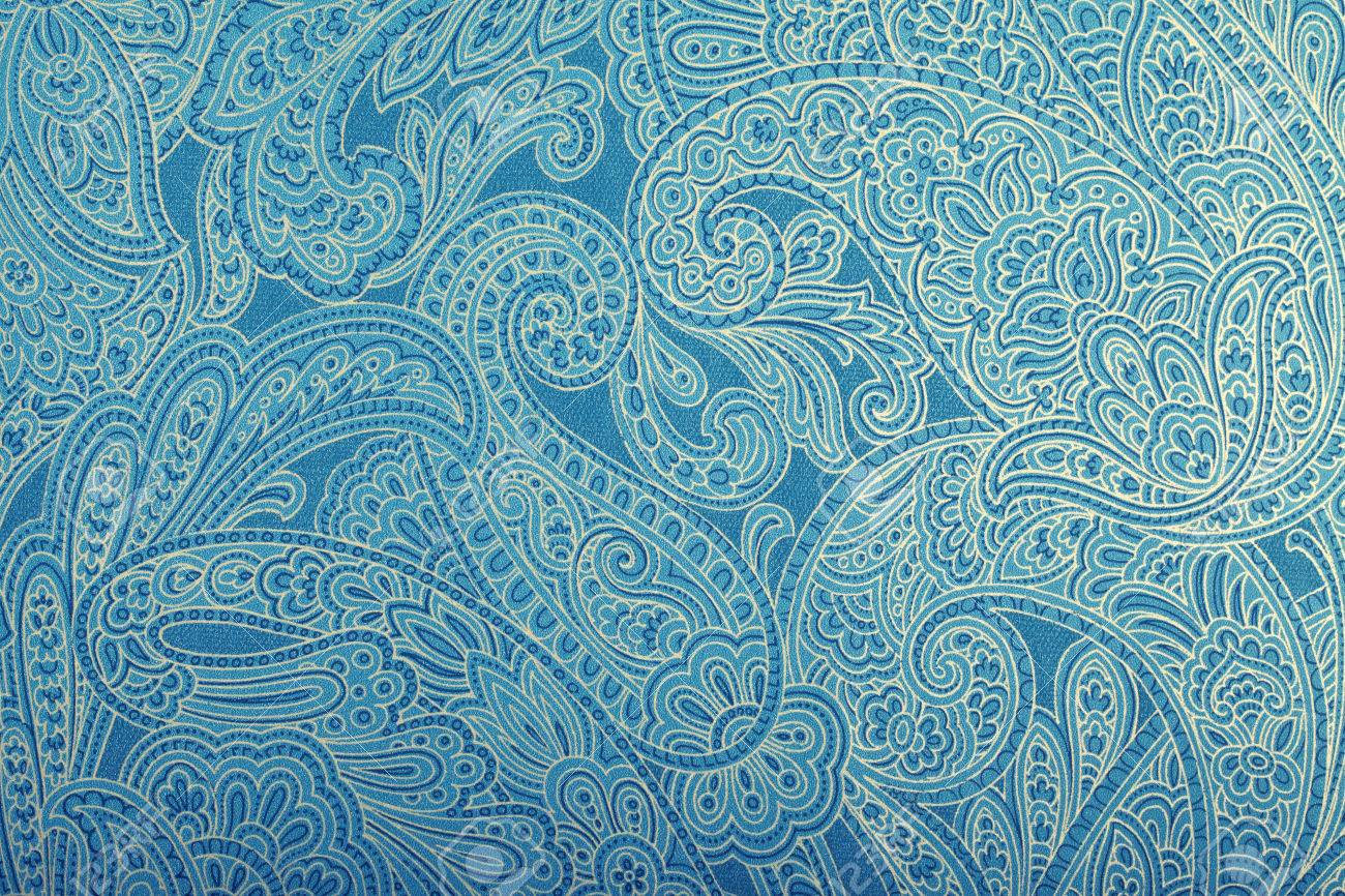 Weinlese Blaue Tapete Mit Paisley Muster Getönten Bild Lizenzfreie