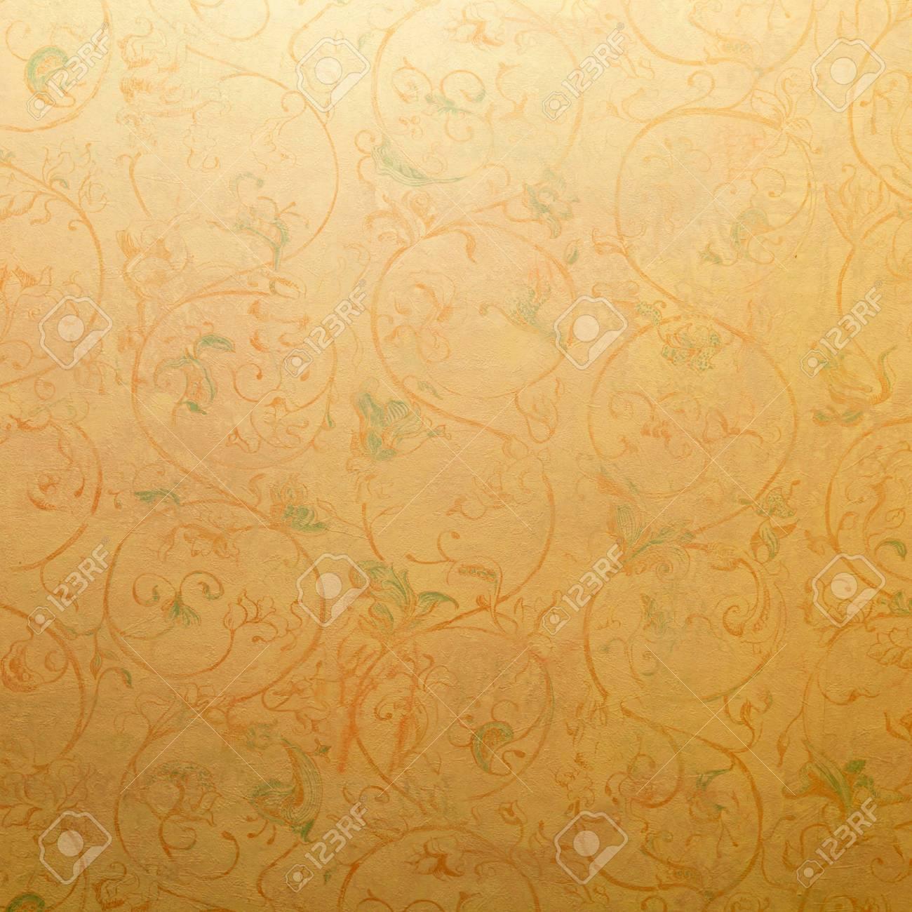 Gelbe Vintage Shabby Chic Tapete Mit Pastellvignette Floralen ...
