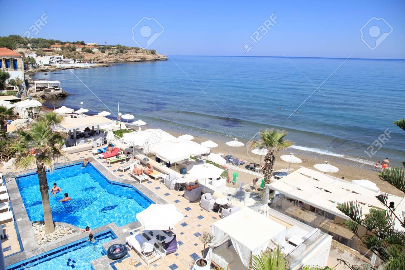 crete greece july 23 2016 beautiful landscape with mediterranean sea and swimming