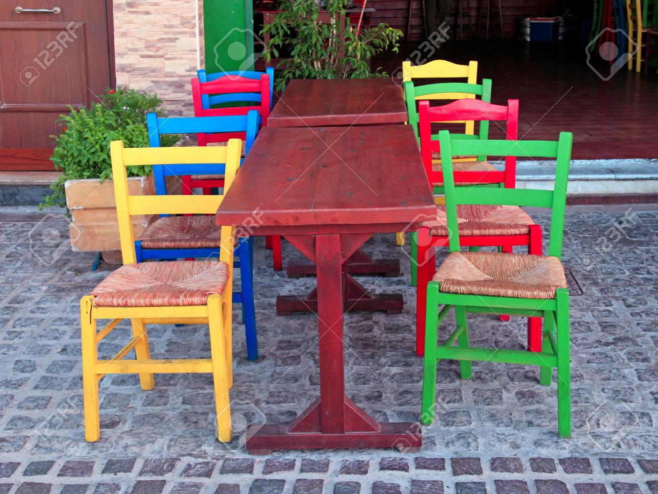 Multicolored Green Red Blue And Yellow Chairs In Outdoor Rural Stock Photo Picture And Royalty Free Image Image 66315967