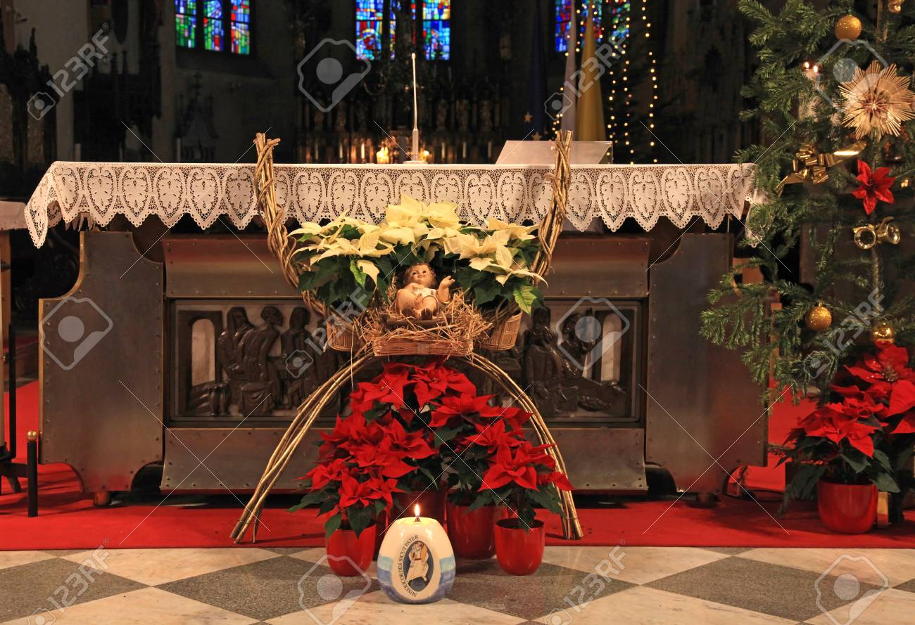 Altar In Catholic Church With Christmas Decoration Stock Photo