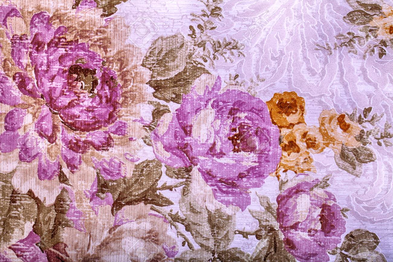 Vintage Wallpaper With Purple And Yellow Floral Victorian Pattern