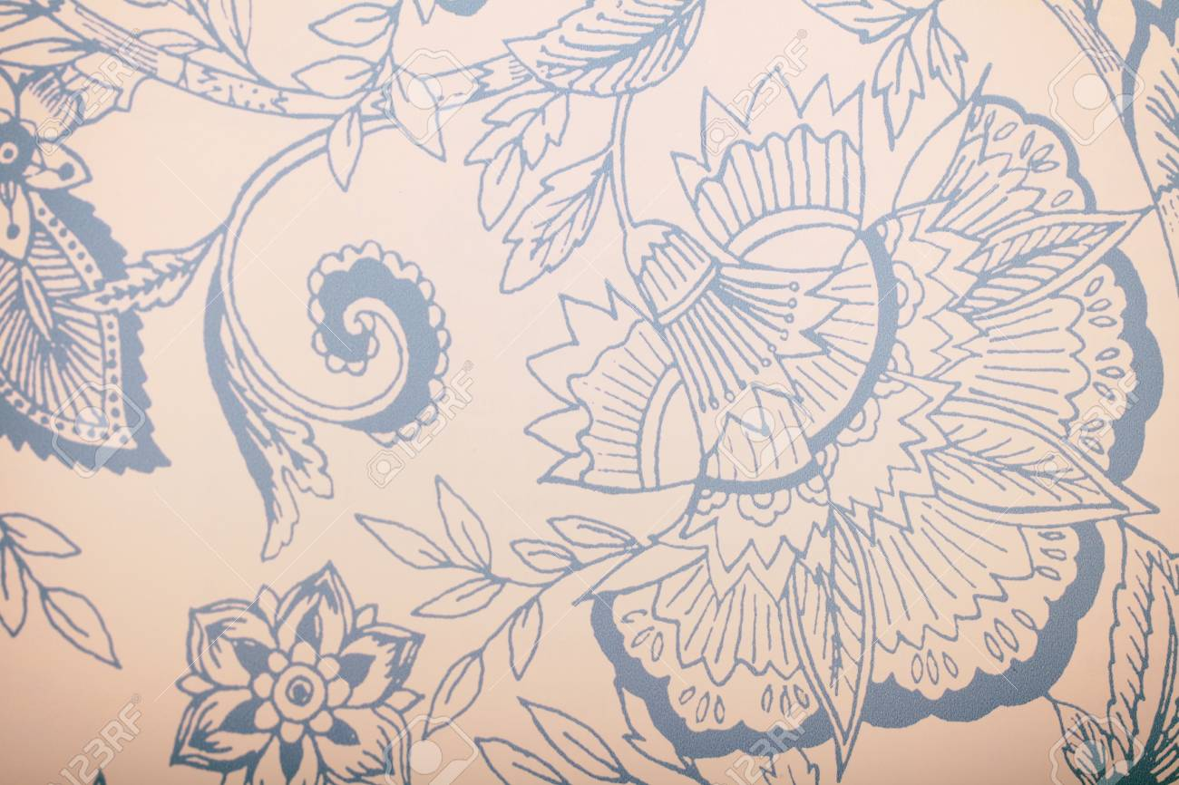 Vintage Blue Wallpaper With Floral Pattern White Vintage