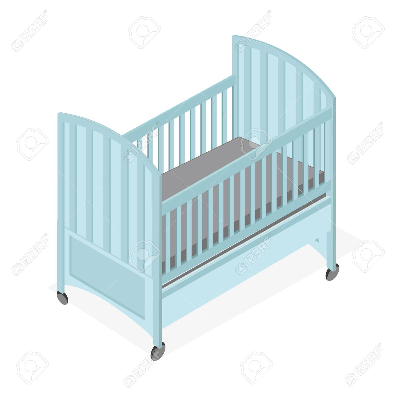 Blue Wooden Baby Cot Simple Isometric Style Royalty Free Cliparts Vectors And Stock Illustration Image 130565943