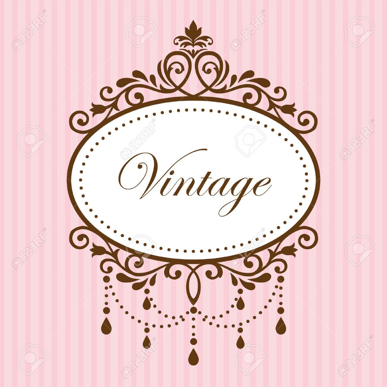 229dead92ebd Chandelier Vintage Frame On Pink Background Royalty Free Cliparts ...