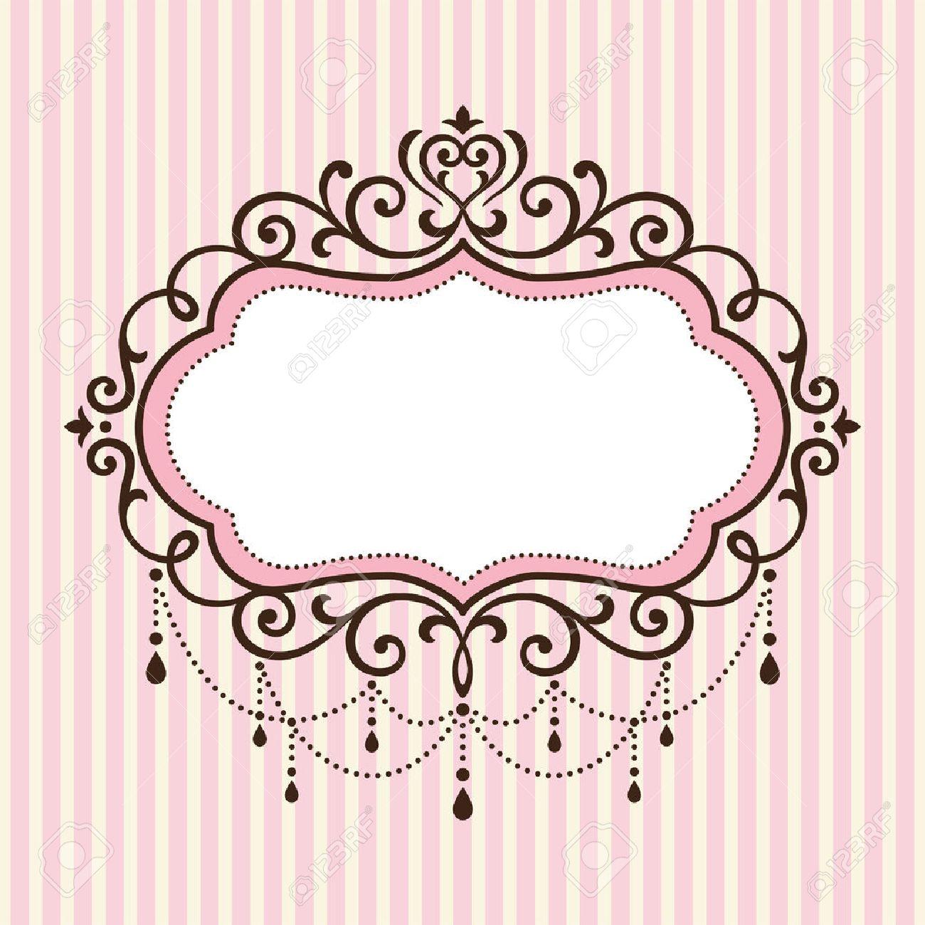 eedf654f4d24 Chandelier vintage border frame on pink stripe background Stock Vector -  66368704