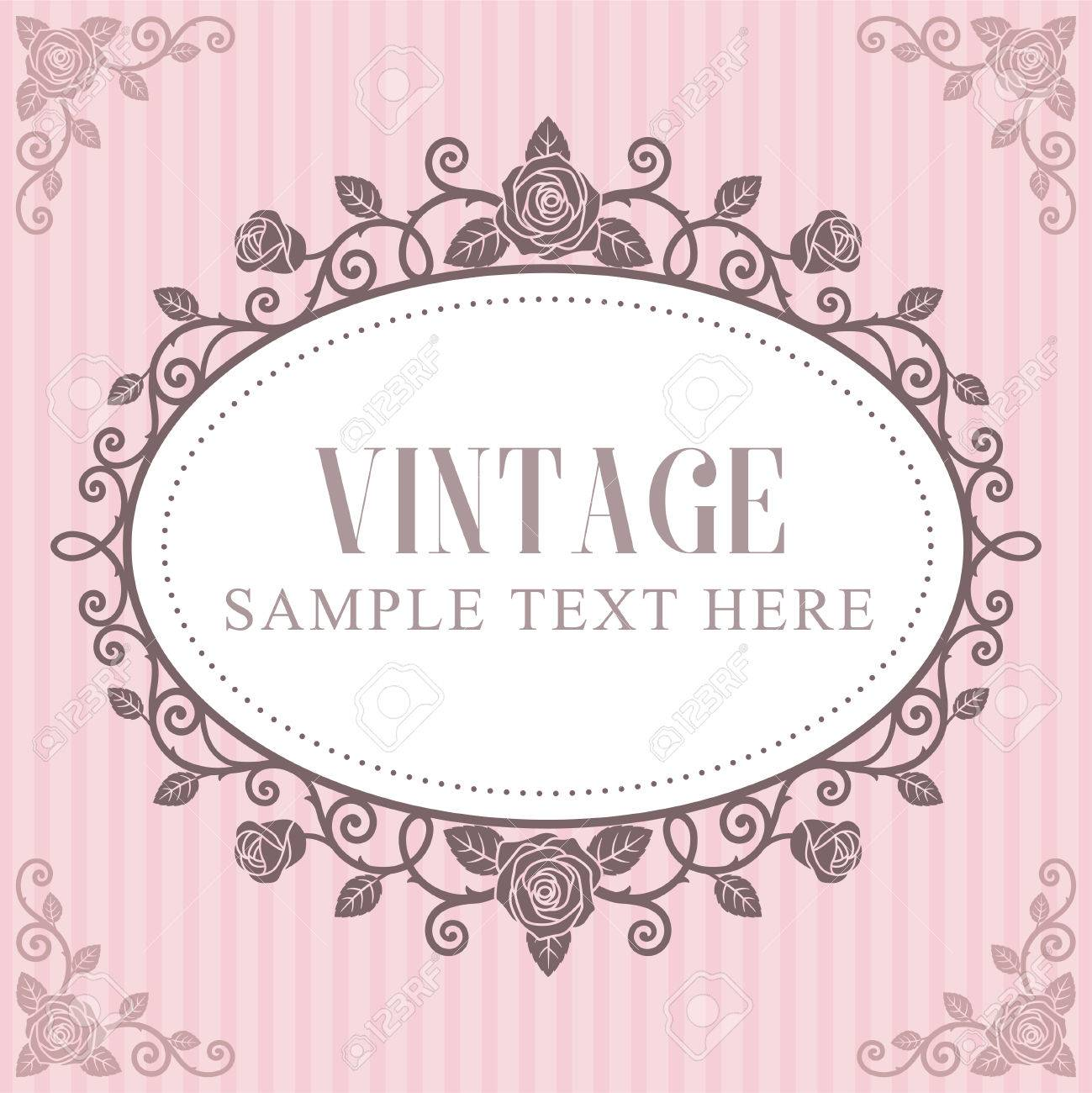 Invitation card roses vintage frame on pink striped background imagens invitation card roses vintage frame on pink striped background stopboris Choice Image