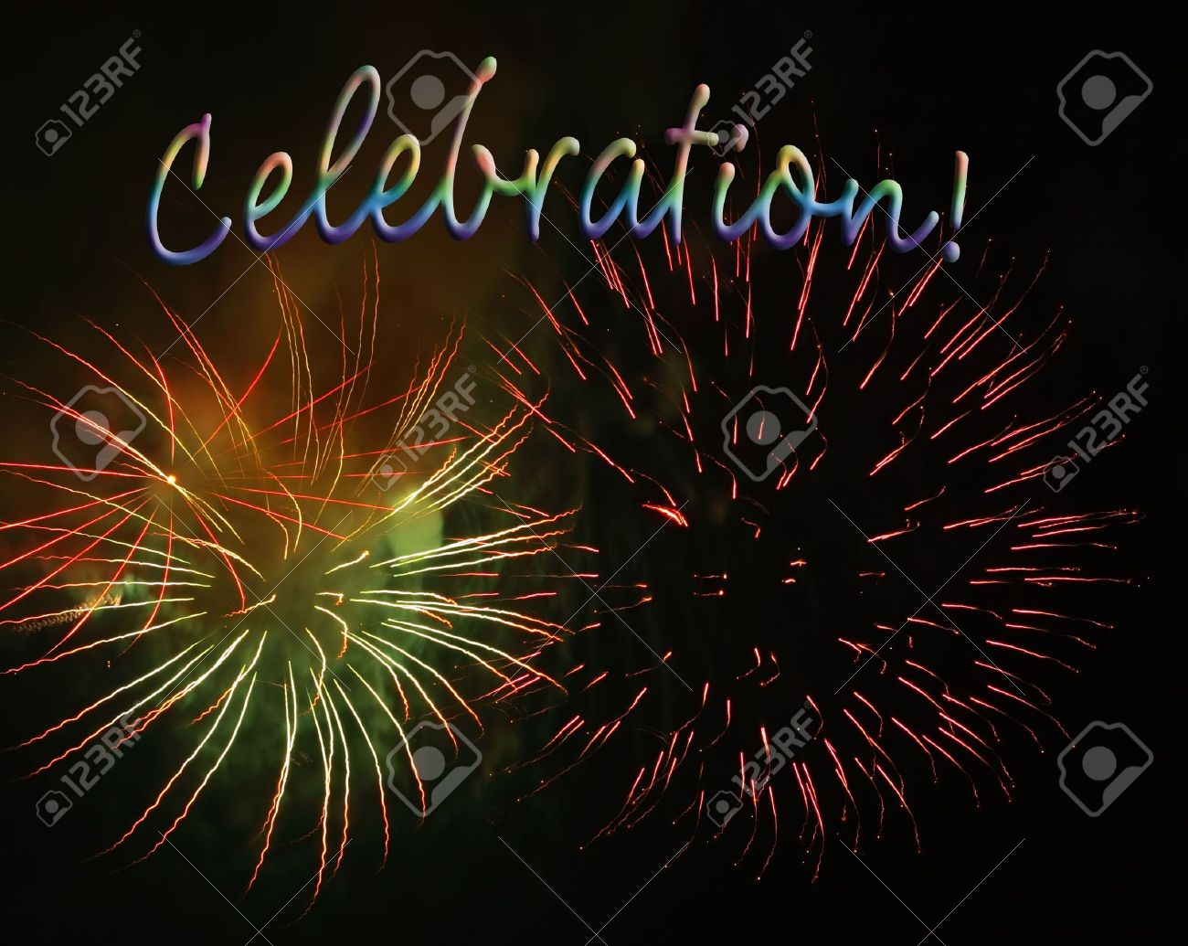 fireworks display with celebration text good for party invitations