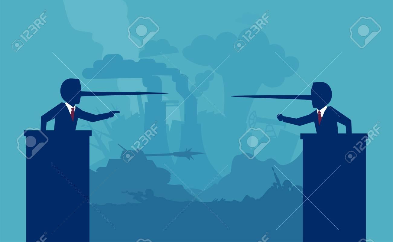 Two liar politicians having a debate on background of a war battlefield - 99456362