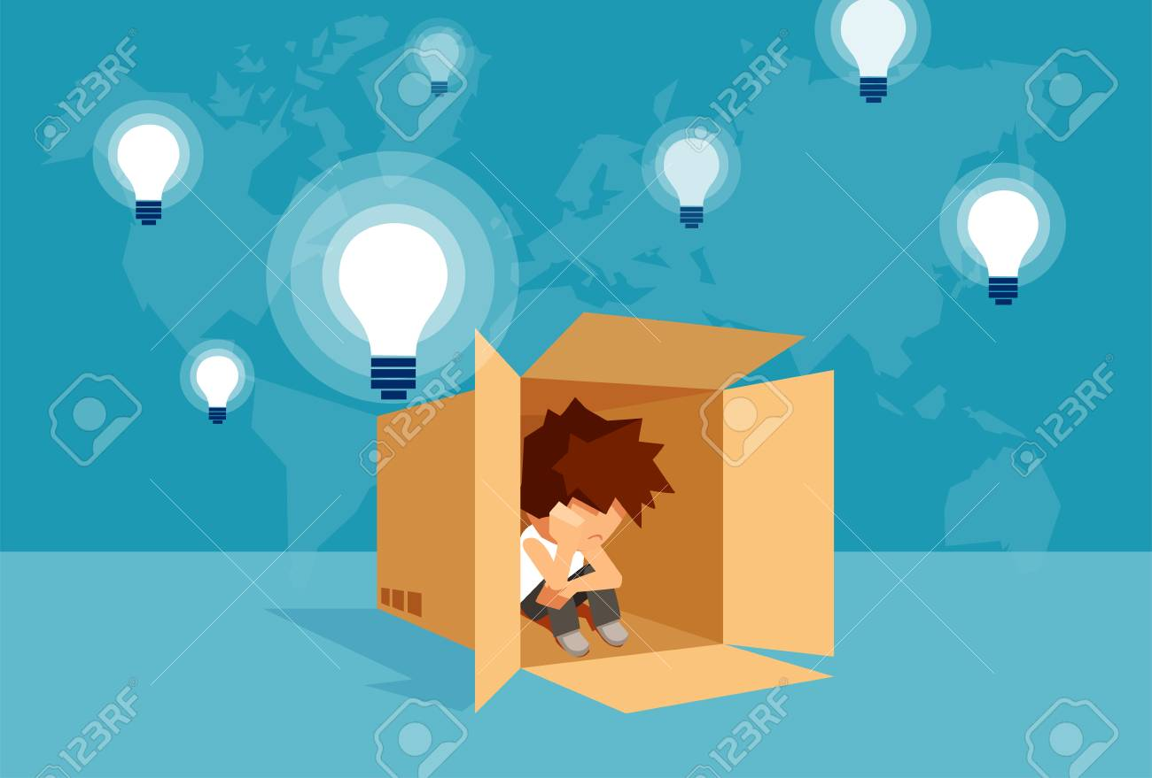 Concept vector illustration of kid sitting alone in box and thinking on problem. - 99456412