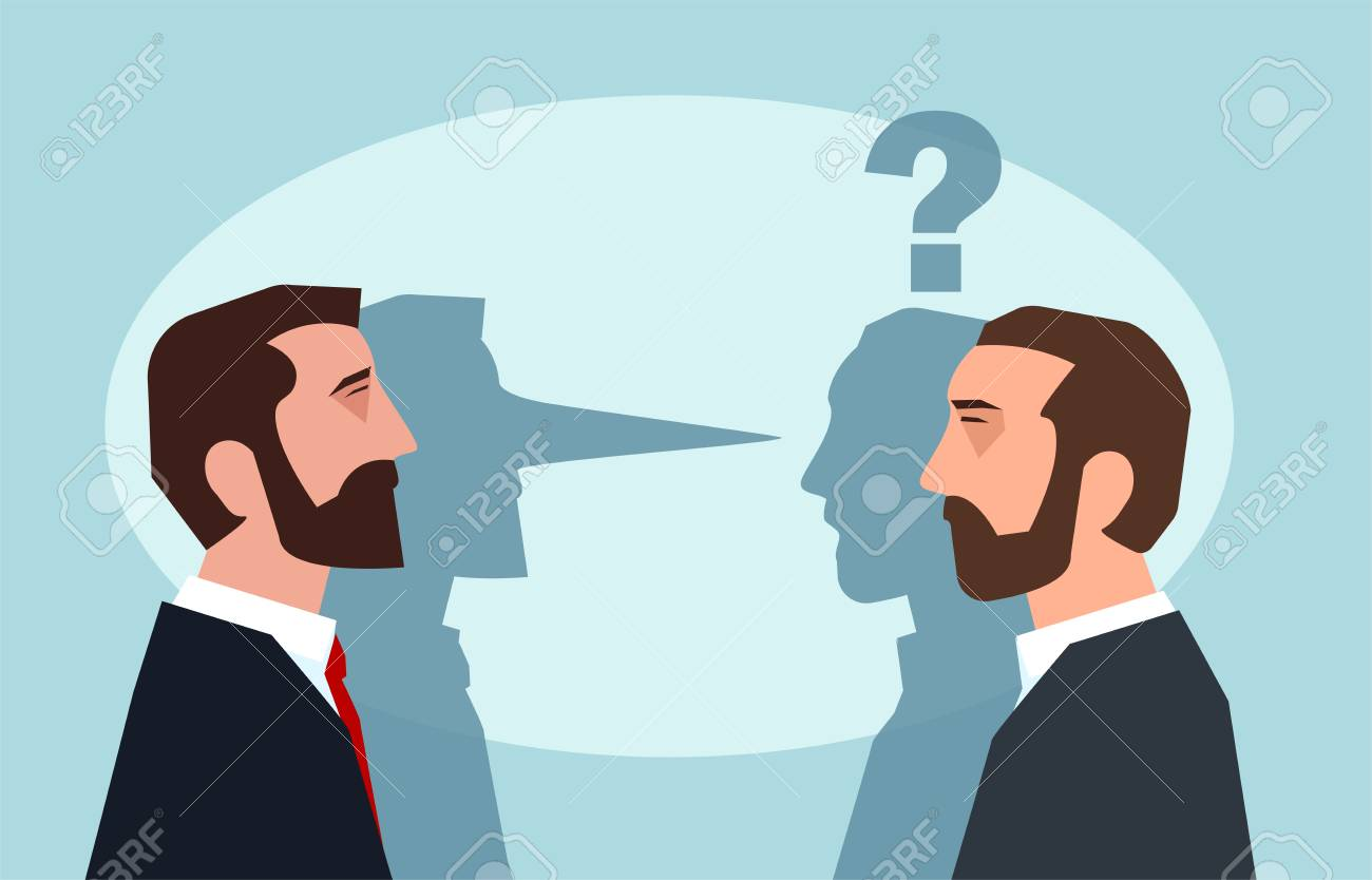 Flat style picture of businessman lying to another man leading business dishonestly. - 99456580