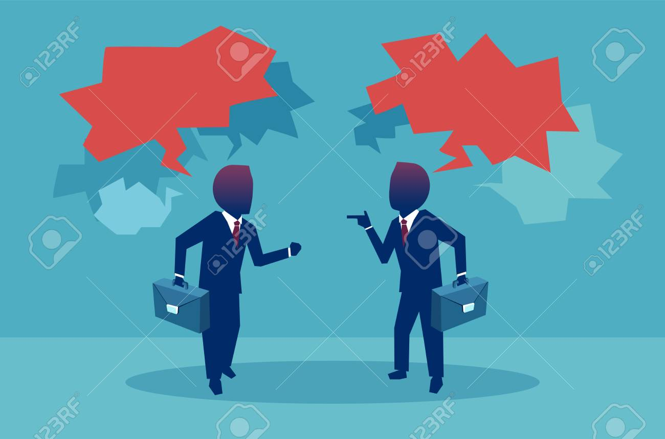 Flat style of two businessman having debates during meeting with red speech bubbles on blue background - 104645521