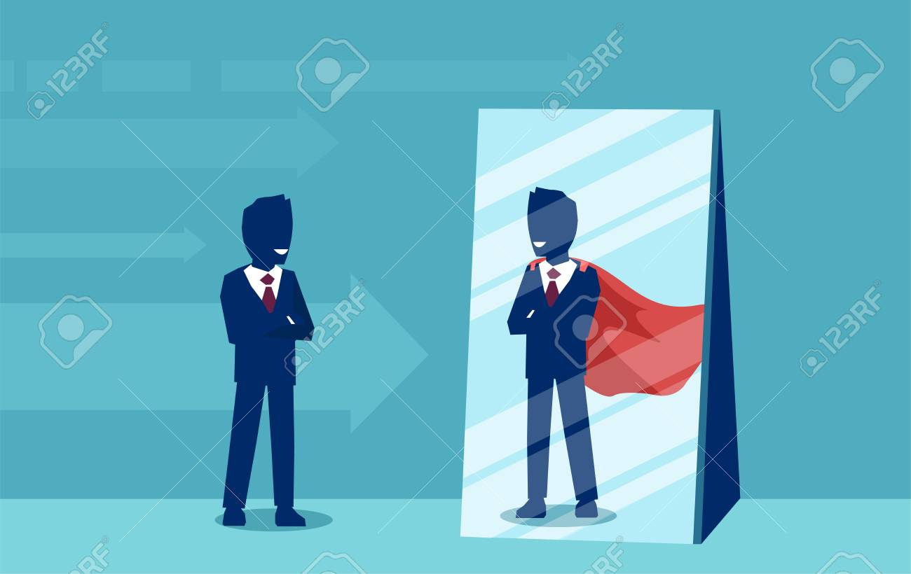 Vector of a motivated business man facing himself as a super hero in the mirror. Self confidence concept - 104937812