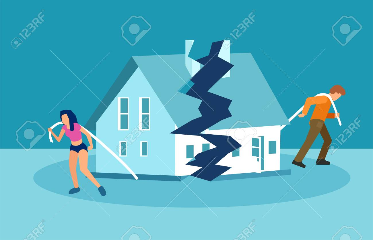 Divorce and marriage problems vector concept. Man and a woman are dragging apart their half of the house. - 110166329