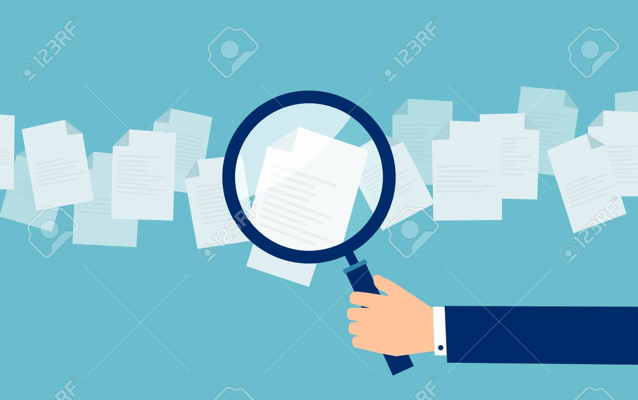 Crop hand of cartoon employer with magnifier looking through candidates resume in search - 116120194
