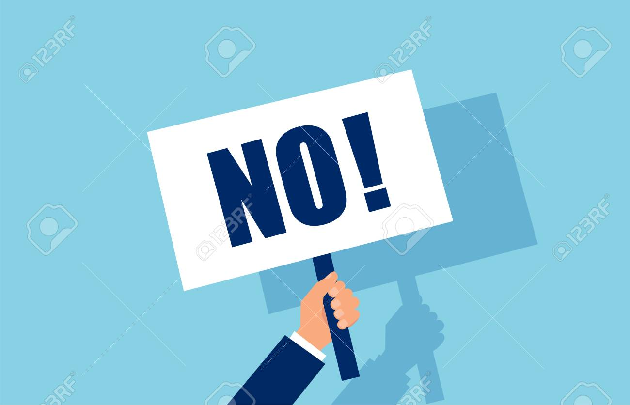 Vector of a businessman hand holding a No answer choice placard - 126545770