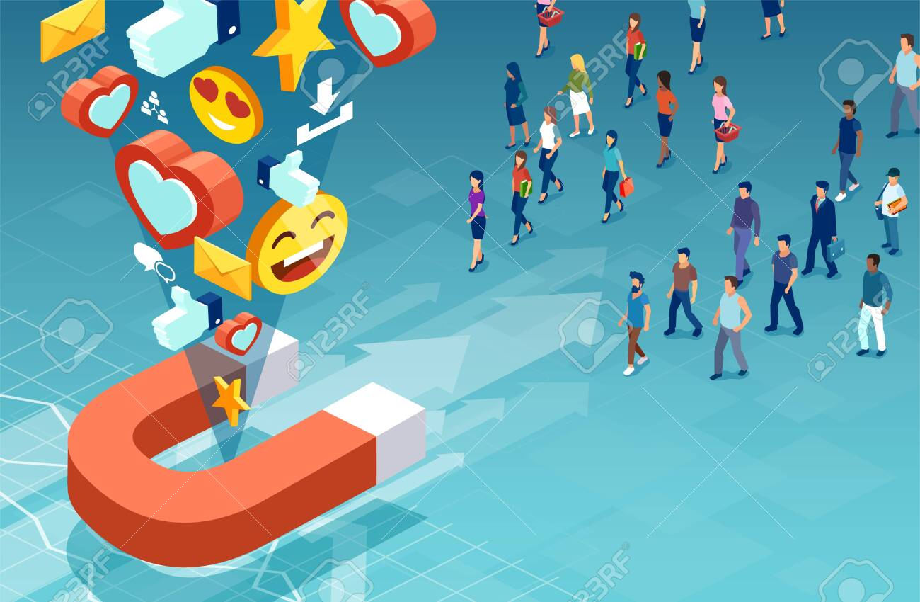 Social media marketing and target audience concept. Isometric vector of customers men and women making their product choice - 134722451