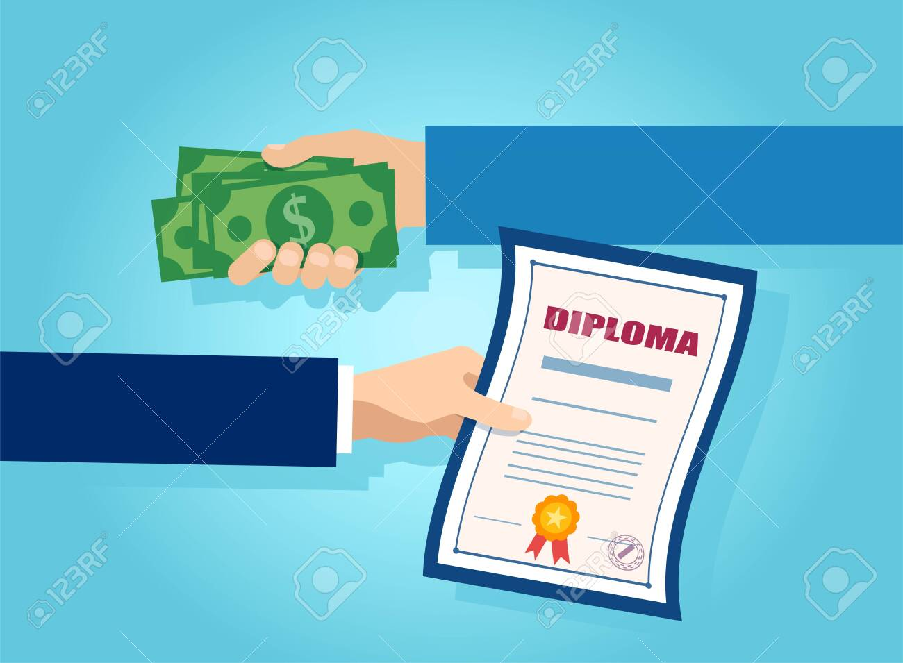 Vector of one hand offering money in exchange for a college diploma - 139688847